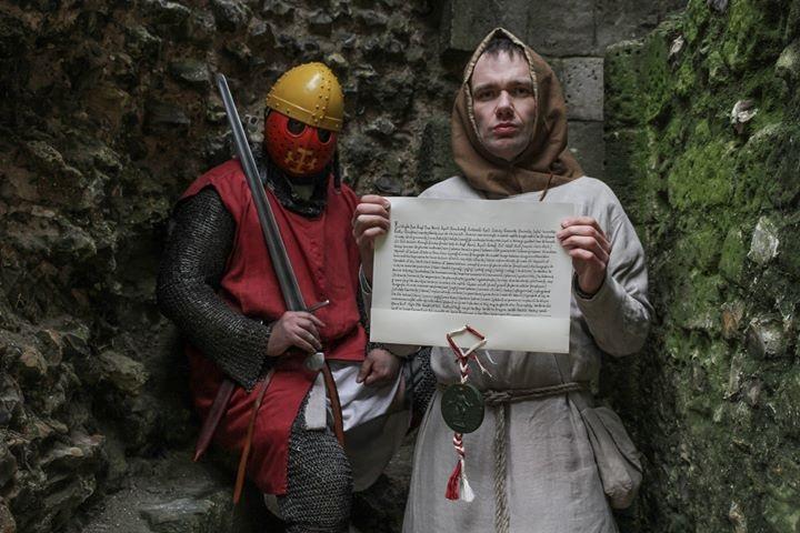 Re-enactors dressed as knights