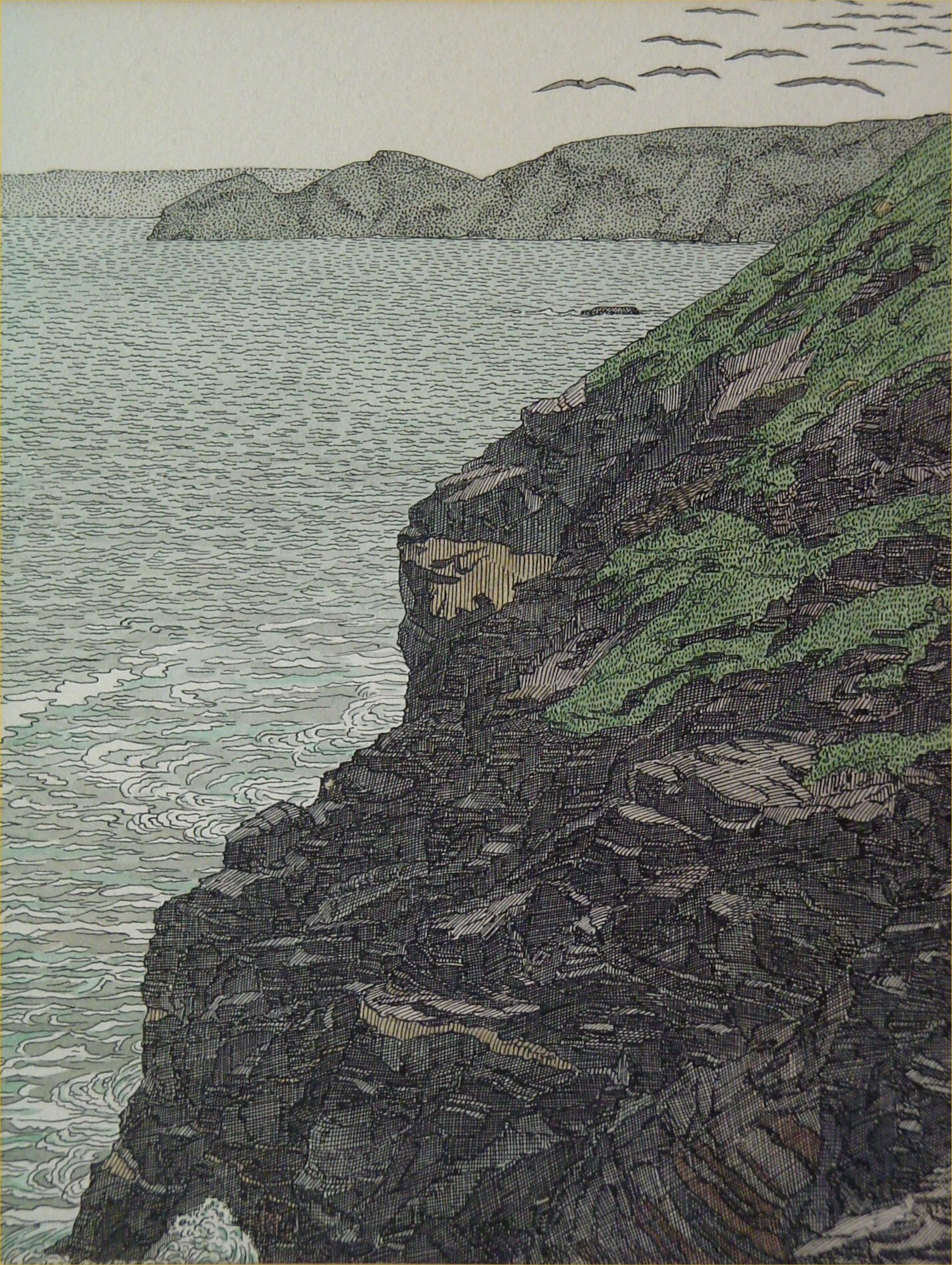 'Study for Dorset Coast' by Charles Ginner. Watercolour, dated 1922