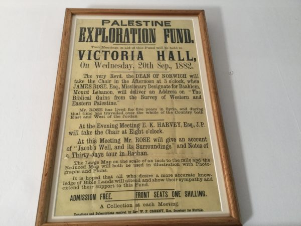 Poster selected by Helen Jewell. Helen loved that whilst admission was free you could sit in the front row for 1 shilling, which was a lot of money in 1882