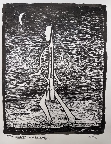 John Spinnaker sleepwalking pen and ink drawing by Derek Boshier. Copyright the artist. Portsmouth Museums Service