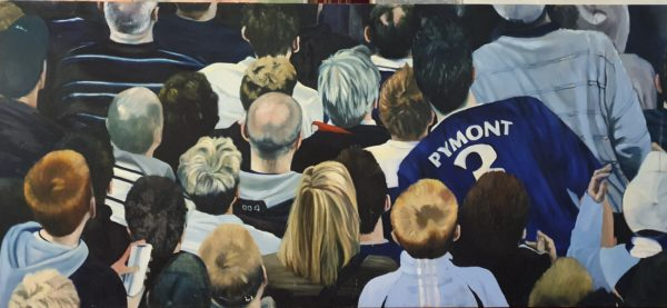 Pompey fans oil on linen by Jackie West. Copyright the artist.
