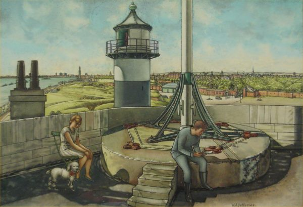 Spithead light watercolour and pencil drawing by WA Jefferies. Copyright the artist. Portsmouth Museum Service